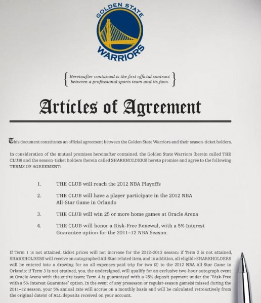 Warriors Season Ticker Holder Contract The Business Of